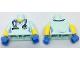 Part No: 973pb2695c01  Name: Torso Female Hospital Scrubs with Medium Blue Stethoscope Pattern / Yellow Arms with Light Aqua Short Sleeves Pattern / Medium Blue Hands