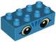 Part No: 3011pb053  Name: Duplo, Brick 2 x 4 with Orange Eyes and 3 Blue Whiskers Pattern