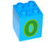 Part No: 31110pb129  Name: Duplo, Brick 2 x 2 x 2 with Number 0 Green Pattern