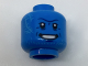 Part No: 3626cpb1807  Name: Minifigure, Head Alien Black Eyes, Bright Light Blue Tattoos, Silver Teeth Pattern - Hollow Stud