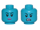 Part No: 3626cpb1858  Name: Minifig, Head Dual-Sided Alien Female with Black Eyebrows and Pink Lips, Neutral / Angry Pattern (SW Aayla Secura) - Stud Recesssed