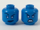 Part No: 3626cpb2047  Name: Minifig, Head Dual Sided Female Alien, Dark Blue Eyebrows and Lips, Smirk with Raised Eyebrow / Fierce Expression Pattern