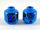 Part No: 3626cpb2359  Name: Minifigure, Head Alien Female with Blue Face, Mechanical Left Eye, Neutral Expression and Silver Stripes on Back Pattern - Hollow Stud