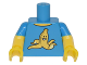 Part No: 973pb2222c01  Name: Torso T-Shirt with Yellow Grinning Banana Peel Pattern / Yellow Arms with Dark Azure Short Sleeves Pattern / Yellow Hands