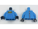 Part No: 973pb2886c01  Name: Torso Batman Logo in Yellow Oval Off-center with Blue Stitched Muscle Lines and Zipper on Back Pattern / Dark Azure Arms / Black Hands