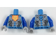 Part No: 973pb2897c01  Name: Torso Nexo Knights Armor with Orange Emblem with Yellow Crowned Lion, Silver Panels, Dark Azure Hexagon  Pattern / Blue Arms / Light Bluish Gray Hands