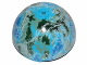 Part No: 98107pb09  Name: Cylinder Hemisphere 11 x 11, Studs on Top with Alderaan Blue / White / Dark Green Planet Pattern (75011)