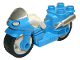 Part No: dupmc3pb05  Name: Duplo Motorcycle with Rubber Wheels, White Handelebars, Windscreen and Headlights Pattern
