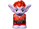 Part No: 28614pb01  Name: Body / Head Goblin with Pointed Ears and Red Spiked Hair and Tunic with Utility Belt with Goblin Eye Buckle, Crystals and Vial Pattern