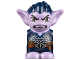 Part No: 28614pb10  Name: Body / Head Goblin with Pointed Ears, Dark Blue Spiked Hair and Tunic with Utility Belt with Goblin Eye Buckle, Knife and Pouch Pattern
