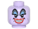 Part No: 3626cpb1554  Name: Minifig, Head Alien Female, Blue and Gray Eye Shadow, Eyelashes, Cheek Lines, Chin Dimple, Red Lips, Open Mouth Smile Pattern (Ursula) - Stud Recessed