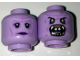 Part No: 3626cpb1652  Name: Minifig, Head Dual Sided Alien Black Eyes, Purple Lips Neutral / Monster Open Mouth with Teeth, Fangs Pattern - Stud Recessed