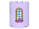 Part No: 6259pb028  Name: Cylinder Half 2 x 4 x 4 with Curved Lattice Window and Pink Roses Pattern (Sticker) - Set 41067