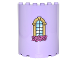 Part No: 87926pb006  Name: Cylinder Half 3 x 6 x 6 with 1 x 2 Cutout with Curved Lattice Window with Keystone and Pink Roses Pattern (Sticker) - Set 41067