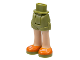 Part No: 11202c00pb14  Name: Mini Doll Friends Hips and Shorts, Light Flesh Legs and White Laces on Orange and Olive Green Shoes Pattern