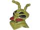 Part No: 13758pb01  Name: Minifigure, Head Modified Galaxy Squad Alien Mantizoid, 4 Eyes, Antennae and Dark Red Mandibles Pattern