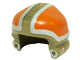 Part No: 21810pb01  Name: Minifigure, Headgear Helmet SW Ground Crew with Orange and White Panels and Silver Circles Pattern