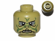 Part No: 3626cpb0748  Name: Minifigure, Head Alien with SW Kithaba Green Facial Lines Pattern - Hollow Stud