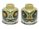 Part No: 3626cpb0885  Name: Minifig, Head Dual Sided Alien Chima Crocodile with Dark Green Rimmed Eyes, Wide Eyes / Narrow Eyes Pattern (Crawley) - Stud Recessed
