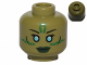 Part No: 3626cpb1007  Name: Minifigure, Head Alien with Blue Eyes, Green Markings and Dark Green Lips Pattern (SW Jedi Consular) - Hollow Stud