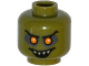 Part No: 3626cpb1240  Name: Minifigure, Head Alien with Orange Eyes with White Pupils, Black Eyebrows, Open Smile with Pointed Teeth Pattern - Hollow Stud