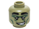 Part No: 3626cpb1411  Name: Minifigure, Head Alien with Black Eyebrows, Dark Green Eye and Cheek Lines, Crooked Smile with Teeth Pattern - Hollow Stud