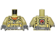 Part No: 973pb2453c01  Name: Torso Volcano Explorer Jumpsuit with Dark Bluish Gray Belt and Yellow Harness Front, Volcano Logo Back Pattern / Olive Green Arms / Dark Bluish Gray Hands