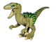 Part No: Raptor02  Name: Dinosaur, Raptor / Velociraptor with Dark Green Back, Lime Markings and Tan Claws
