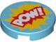 Part No: 14769pb172  Name: Tile, Round 2 x 2 with Bottom Stud Holder with 'POW!' in Yellow and Red Starburst Explosion Pattern
