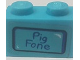Part No: 3004pb181  Name: Brick 1 x 2 with 'Pig Fone' Pattern (Sticker) - Set 75824