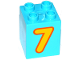 Part No: 31110pb130  Name: Duplo, Brick 2 x 2 x 2 with Number 7 Bright Light Orange Pattern