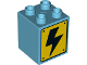 Part No: 31110pb134  Name: Duplo, Brick 2 x 2 x 2 with High Voltage Black Lightning Bolt on Yellow Sign Pattern