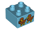 Part No: 3437pb072  Name: Duplo, Brick 2 x 2 with 2 Baby Ducks Pattern