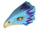 Part No: 38832pb01  Name: Bird Head Upper Jaw with Dark Tan Beak and Purple Feathers Pattern (Occamy)