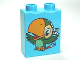 Part No: 4066pb444  Name: Duplo, Brick 1 x 2 x 2 with Bird Skully the Parrot Pattern