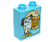 Part No: 4066pb450  Name: Duplo, Brick 1 x 2 x 2 with Dog and Cat with Food Bowl and Number 1 Pattern