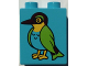 Part No: 76371pb031  Name: Duplo, Brick 1 x 2 x 2 with Bottom Tube with Green Feathered Bird Pattern (10802)