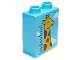Part No: 76371pb075  Name: Duplo, Brick 1 x 2 x 2 with Bottom Tube with Height Chart, Giraffe and Clouds Pattern