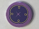 Part No: 14769pb114  Name: Tile, Round 2 x 2 with Bottom Stud Holder with Purple Cushion with Button and Gold Swirls on Medium Lavender Background Pattern (Sticker) - Set 41101