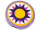 Part No: 14769pb136  Name: Tile, Round 2 x 2 with Bottom Stud Holder with Cushion with Dark Pink and Dark Purple Star and Yellow Large Dot Pattern (Sticker) - Set 41065