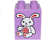 Part No: 31110pb133  Name: Duplo, Brick 2 x 2 x 2 with White and Red Bunny / Rabbit Pattern (10845)