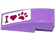 Part No: 50950pb081  Name: Slope, Curved 3 x 1 No Studs with 'I', Heart and Paw Print Pattern (Sticker) - Set 41091