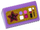 Part No: 85984pb078  Name: Slope 30 1 x 2 x 2/3 with Star, Makeup and Brushes on Gold Background Pattern (Sticker) - Set 41063