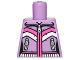 Part No: 973pb1231  Name: Torso Female Zipper, 2 Zipper Pockets and Pink and White Stripes Pattern