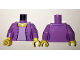 Part No: 973pb2341c01  Name: Torso Female Open Jacket with 4 Buttons, Silver Pendant Necklace, Lavender Shirt Pattern / Medium Lavender Arms / Yellow Hands