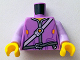 Part No: 973pb2406c01  Name: Torso Nexo Knights Female Jacket with Shoulder Strap and Belt Pattern / Lavender Arms / Yellow Hands