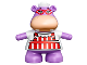 Part No: duphippo  Name: Duplo Hippo Small with Red and White Apron Pattern (Hallie)