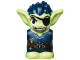 Part No: 28614pb04  Name: Body / Head Goblin with Pointed Ears, Eyepatch and Dark Blue Spiked Hair and Tunic with Utility Belt with Goblin Eye Buckle, Scroll and Rope Pattern