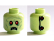Part No: 3626cpb1378  Name: Minifigure, Head Alien Zombie, Red Eyes, Frowning, Broken Teeth, Stitching and 2 Buttons on Back Pattern - Hollow Stud