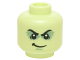 Part No: 3626cpb1388  Name: Minifig, Head Male Black Bushy Eyebrows, Shadowed Eyelids, White Pupils, Smirk Pattern - Stud Recessed